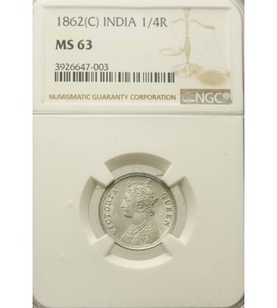 India British 1/4 Rupee 1862 C. NGC MS 63