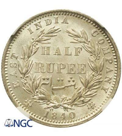 India British 1/2 Rupee 1840, NGC MS 64