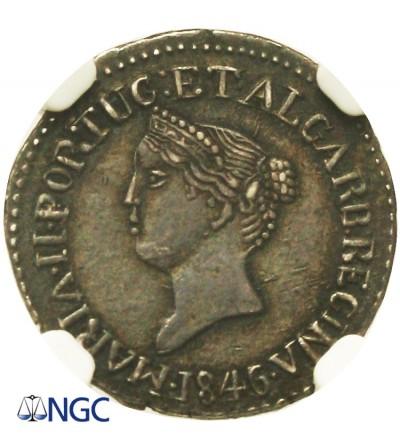 India Portuguese GOA. 1/2 Pardao 1846 / 5, NGC AU 58