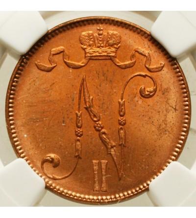 Finlandia 5 pennia 1917 Mikołaj II - NGC MS 64 RD