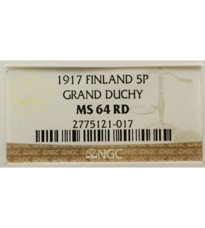 Finlandia 10 pennia 1917 Mikołaj II - NGC MS 64 RD