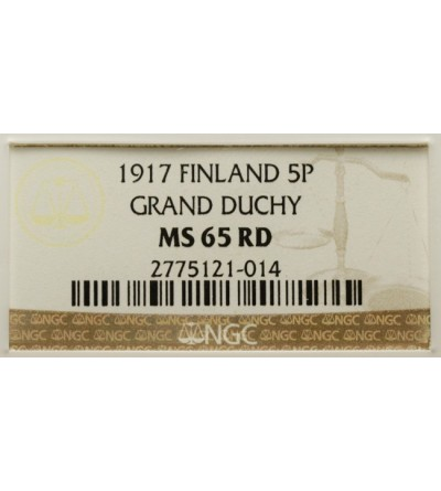 Finlandia 5 pennia 1917 Mikołaj II - NGC MS 65 RD