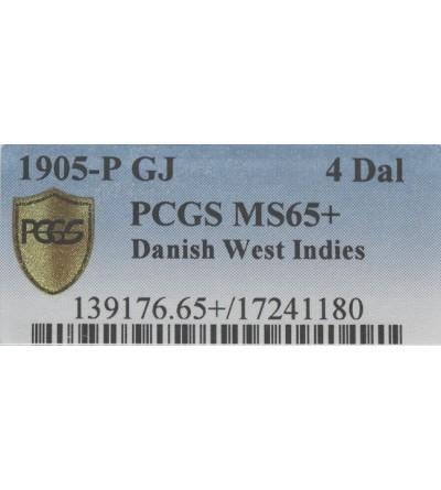 Duńskie Zachodnie Indie 4 daler (20 franków) 1905 P - PCGS MS65+