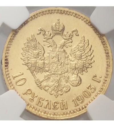 Rosja 10 rubli 1903 AP, Mikołaj II - NGC MS 63