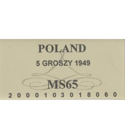 PRL 5 groszy 1949, GCN MS65