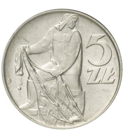 PRL 5 złotych 1974, rybak, GCN MS65