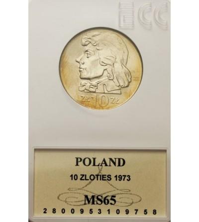 PRL 10 złotych 1973, Kościuszko, GCN MS65