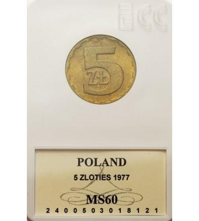 PRL 5 złotych 1977, GCN MS60