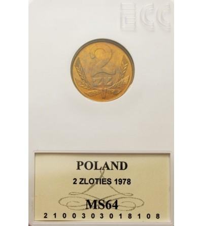 PRL 2 złote 1978, znak mennicy, GCN MS64