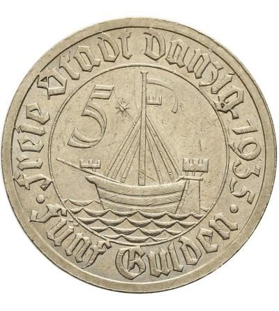 Wolne Miasto Gdańsk 5 guldenów 1935, koga