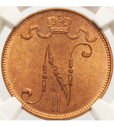 Finlandia 5 pennia 1908 - NGC MS 64 RB