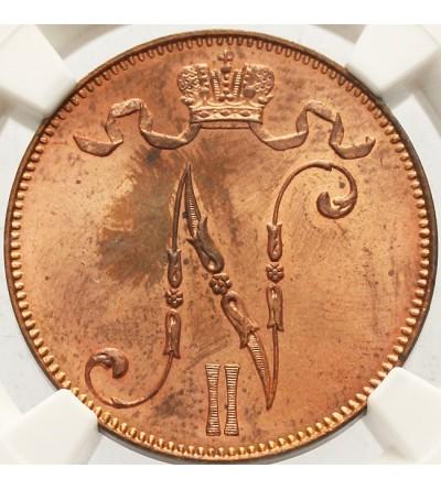 Finlandia 5 pennia 1913 - NGC MS 64 RB