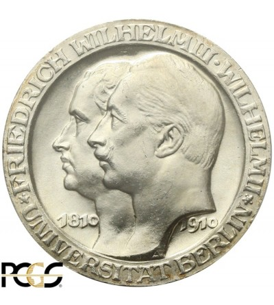 Prusy 3 marki 1910 Uniwersytet w Berlinie - PCGS MS 63