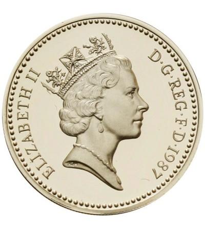 Wielka Brytania 1 funt 1987 - odbitka w srebrze
