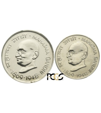 India Republi 50 paise & Rupee 1969. Ghandi