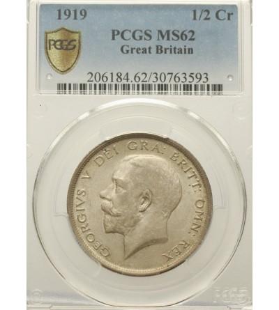 Wielka Brytania 1/2 korony 1919. PCGS MS 62