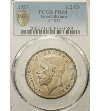 Great Britain 1/2 Crown 1927. PCGS PR 64