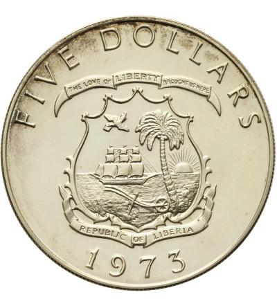 Liberia 5 dolarów 1973 Proof