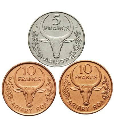 Madagaskar 5, 10, 10 franków 1996, 1996, 1991