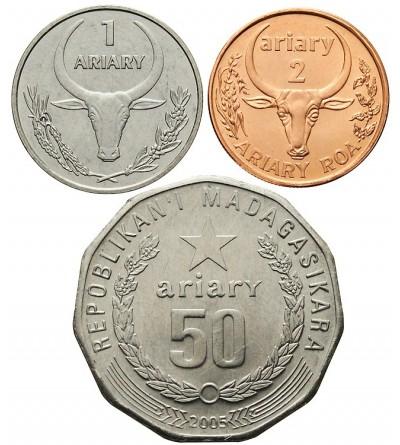 Madagaskar 1, 2, 50 ariary 2003, 2004, 2005
