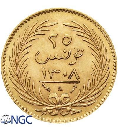 Tunezja 25 piastr (15 franków) 1308 AH / 1891 AD. NGC MS 62