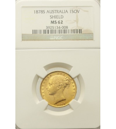 Australia suweren 1878 S, NGC MS 62