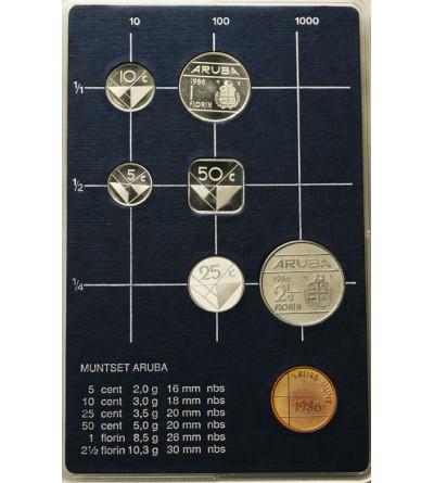 Aruba 1986 Zestaw rocznikowy monet.