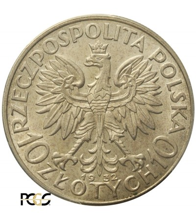 Poland. 10 Zloty 1932, London Mint - PCGS AU58