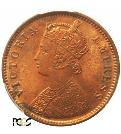 Indie Brytyjskie 1/4 Anny 1880 C. Kalkuta. PCGS MS 64RB