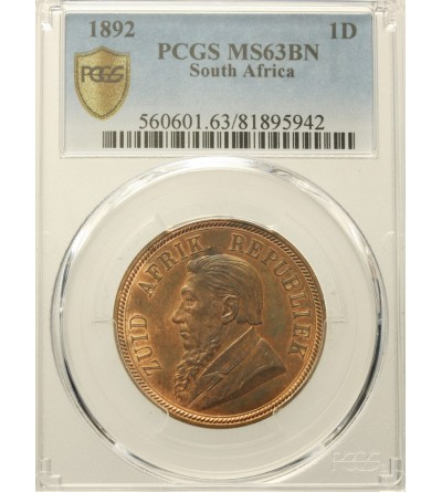RPA 1 Penny 1892. PCGS MS 63BN
