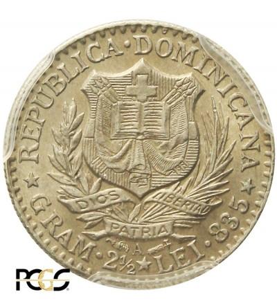 Dominikana 50 Centimes 1891 A. PCGS AU 58