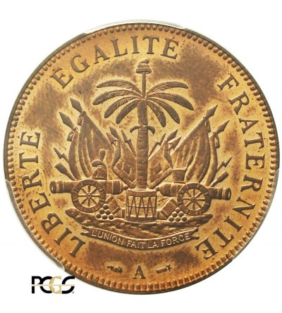 Haiti 2 Centimes 1886 A. PCGS MS 64RB