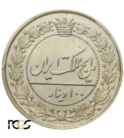 Iran 100 Dinarów (2 Shahl) 1318 AH / 1900 AD.  PCGS MS 66