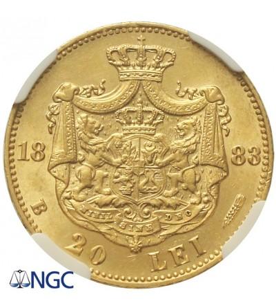Rumunia 20 lei 1883 B - NGC MS 63