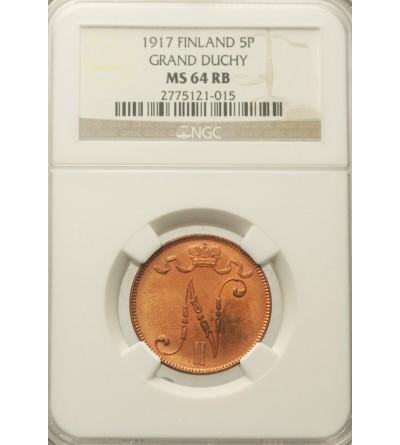 Finlandia (okupacja rosyjska) 5 Pennia 1917, Mikołaj II - NGC MS 64 RB