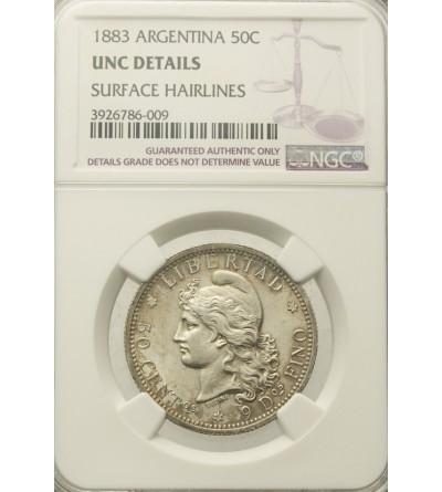 Argentyna 50 centavos 1883. NGC UNC Details