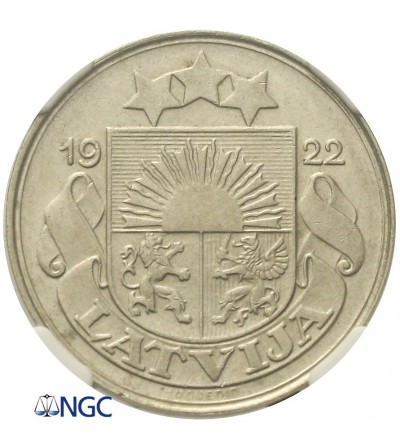 Łotwa 50 santimu 1922. NGC AU 55