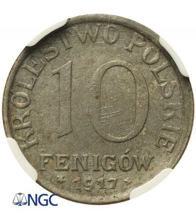 Królestwo Polskie 10 fenigów 1917. NGC UNC Details
