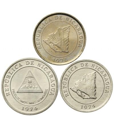 Nicaragua 5, 10, 10 Centavos 1974 - 1978