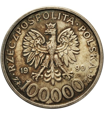 Poland 100000 Zlotych 1990, Solidarnosc - var. B
