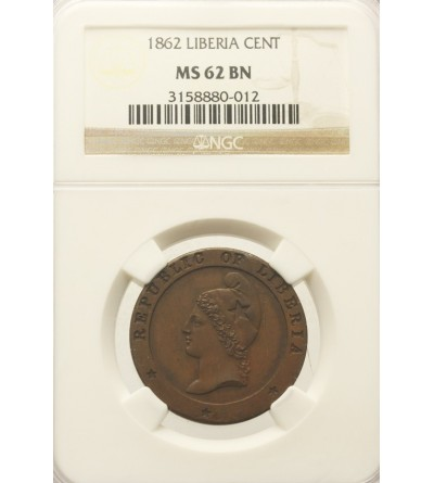 Liberia 1 cent 1862. NGC MS 62BN