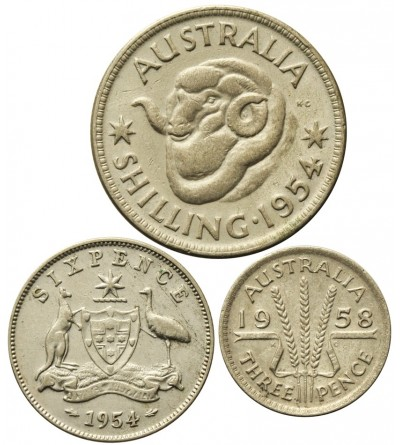 Australia 3, 6 pensów 1 szyling 1954 - 1958