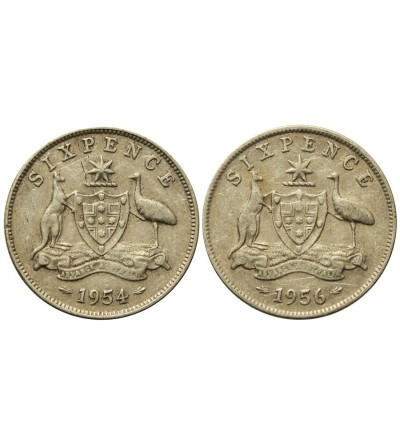 Australia 6 pensów 1954, 1956