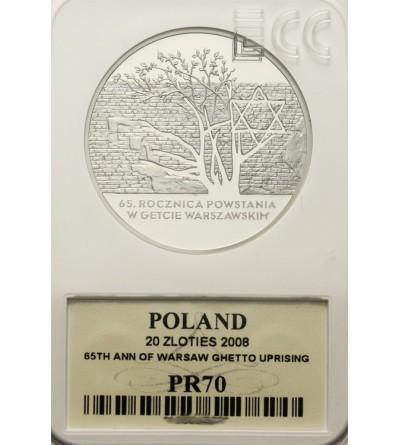 Poland 20 zlotych 2008, 65 Anniversary Warsaw Ghetto Uprising. GCN PR70