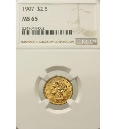 USA 2 1/2 dolara 1907, NGC MS 65