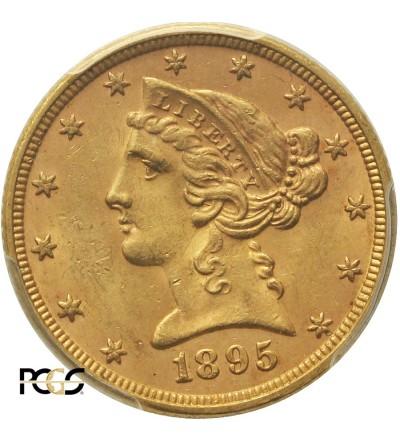 USA 5 dolarów 1895, Filadelfia - PCGS MS 63+