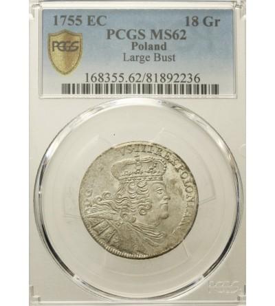 Polska, August III. Ort (18 groszy) 1755 EC, Lipsk - PCGS MS 62