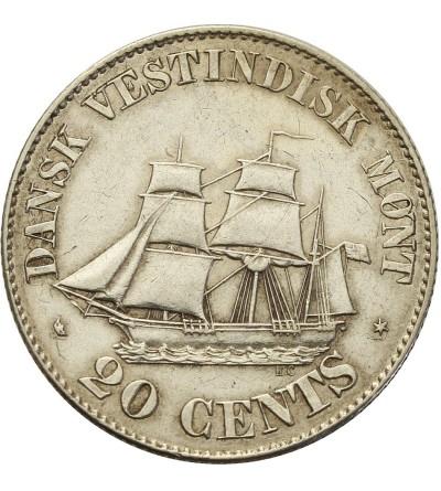 Danish West Indies 20 Cents 1862