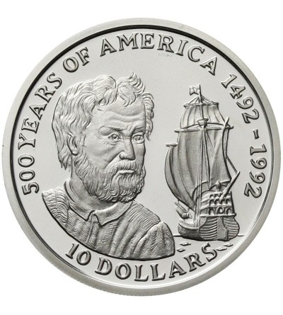 Wyspa Cooka 10 dolarów 1990 - 500 Lat Ameryki
