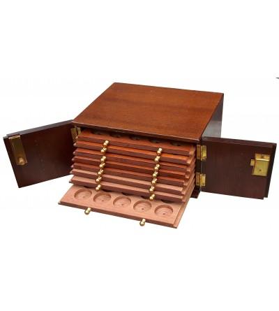 Ekskluzywna drewniana szafka numizmatyczna na 160 monet